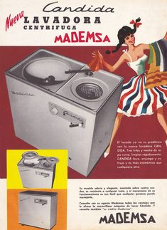 "Mademsa Cándida. Lavadora-Centrífuga ""twin tub"" semiautomática Chile, Retro Ads, Movie Posters, Washers, Pop, Decor, Vintage Ads, Retro Pattern, Science Humor"