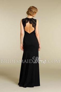 black chiffon long bridesmaid dress with lace shoulder straps