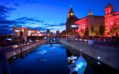 Liverpool's lovely waterfront at dusk - beautifully captured. The new Leeds Liverpool canal extension is something else.