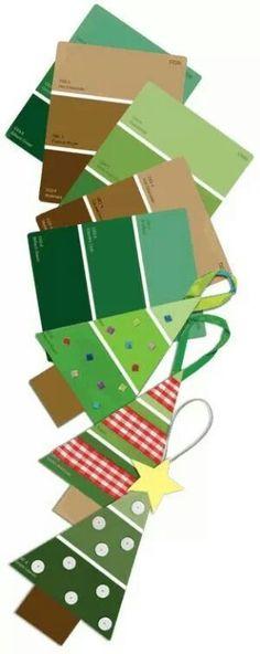 paint card Christmas trees