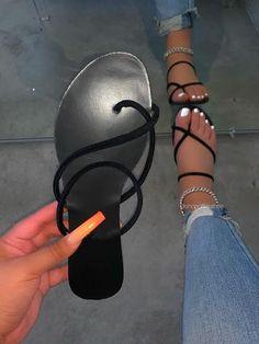 Pretty Sandals, Cute Sandals, Black Sandals, Shoes Sandals, Fancy Shoes, Crazy Shoes, Me Too Shoes, Fashion Slippers, Fashion Shoes