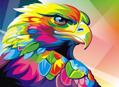 Buy Abstract Eagle - DIY Paint By Number kit or check our new modern collections for adults paint by numbers. Relax and enjoy your canvas painting Colorful Animal Paintings, Abstract Animals, Colorful Animals, Colorful Owl, Painting Abstract, Acrylic Painting Canvas, Diy Painting, Canvas Art, Canvas Pictures