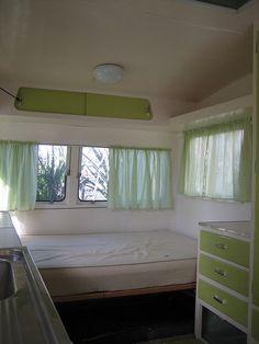 White & green - caravan interior pre renovation by MCA good vibrations, via Flickr