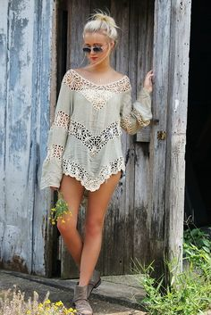 Farewell Summer Floral Crochet Light Sage Knit Tunic Top