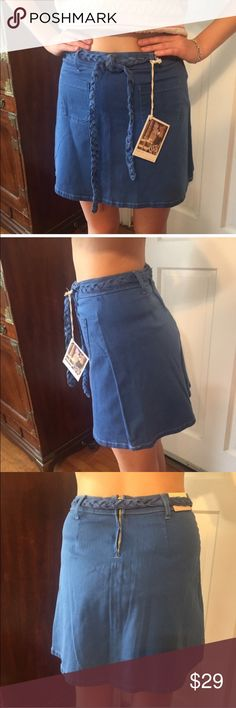"""NWT Cello Jeans Blue Skirt. Size Medium NWT Cello Jeans Miniskirt. Royal blue cotton denim with white stitching. Front patch pockets and self tie. Back zipper. Waist:  15.5"""" measured flat. Length:  17"""".  Also available in a large under separate listing. Cello Jeans Skirts Mini"""