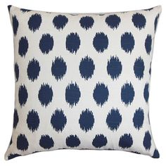 Cotton pillow with a polka dot ikat motif. Made in Boston, Massachusetts.   Product: PillowConstruction Material: