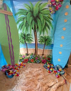End of Year Luau party backdrop for my stinkers 4th grade class☀️☀️☀️. Surf boards were leftover from one of the other classes past parties, BONUS, they are super cute.