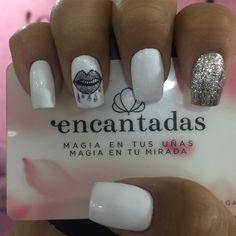 Manicure Y Pedicure, Nail Polish, Nails, Nail Ideas, Beauty, Amor, Stiletto Nails, Veterinary Medicine, White Nails