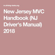 New Jersey MVC Handbook (NJ Driver's Manual) 2018
