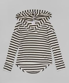 Look at this Erge Black & White Stripe Hi-Low Hoodie on #zulily today!