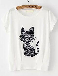 Shop Cat Pattern Patch T-shirt online. SheIn offers Cat Pattern Patch T-shirt & more to fit your fashionable needs.