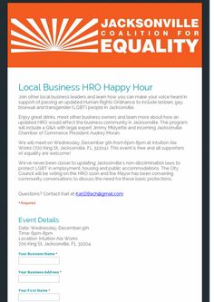 Join other local biz leaders & learn how to support the Jax HRO, RSVP now! Lesbian, Gay, Lgbt News, Lgbt Rights, Transgender People, Equality, Rsvp, The Voice, Join