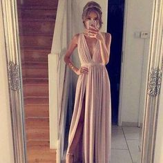 Blush Pink Prom Dresses,A-Line Prom Dress,Simple Prom Dress,Chiffon Prom Dress,Slit Evening Gowns,Cheap Party Dress,Elegant Prom Dresses,Formal Gowns For Teens MT20186558, Brickell Bridal