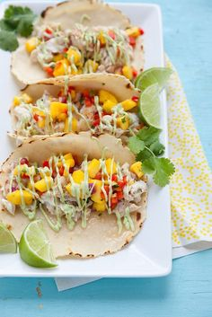 Fish Tacos with Mango Salsa and Avocado Cream Sauce | Annie's Eats