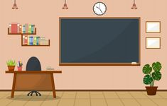 Nobody School Classroom Interior With Teachers Desk And Blackboard Owl Theme Classroom, School Classroom, Kindergarten Classroom, Classroom Ideas, Classroom Background, Slide Background, Vector Background, Anime Scenery Wallpaper, Anime Backgrounds Wallpapers