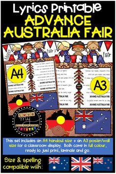 Australia National Anthem, Classroom Wall Displays, Classroom Walls, Advance Australia Fair, Toddler School Uniforms, New Lyrics, Primary School, Teacher Resources