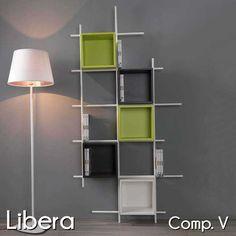 Libreria da parete in metallo bianco Libera con 6 contenitori quadrati