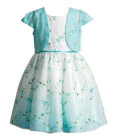 Aqua & White A-Line Dress & Bolero - Toddler & Girls