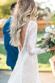 Easy Boho Wedding Hair: No Heat Curls and Waves with CharlieCurls Boho wedding gown with sleeves by Grace loves lace Boho Wedding Gown, Wedding Gowns With Sleeves, Dream Wedding, Wedding Dresses, Lace Wedding, Bridal Gown, Bohemian Wedding Hair, Wedding Simple, Glamorous Wedding
