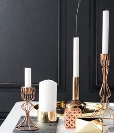 Wire copper candlesticks, $6.95 to $9.95 at hm.com/us | H&M US