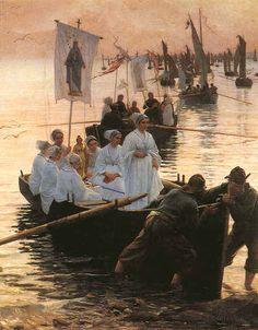 """Alfred Guilou: """"Arrivée du pardon de sainte Anne de Fouesnant à Concarneau"""" - 1887"""