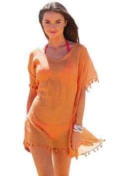 7bc443acf7 Orange Pom Pom Tassel Hem Gauze Cover up #beachdress Beach Wardrobe, Robes  Élégantes,