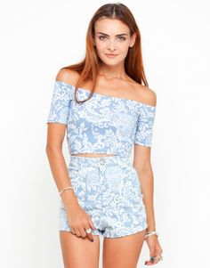 Buy Motel Dana Off Shoulder Crop Top in Paisley Blue Print at Motel Rocks
