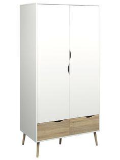 Delta Garderobeskab i hvid -Flot og minimalistisk garderobeskab i hvid. Garderobeskabet har 2 låger med bøjleophæng og 2 skuffer. Den flotte egetræsstruktur kombineret med det hvide skaber et forfriskende og moderne design. De runde ben i massiv eg fuldender designet.