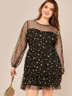 To find out about the Plus Gold Star Mesh Overlay Dress at SHEIN, part of our latest Plus Size Dresses ready to shop online today! Mesh Dress, Dress P, Glamour, Plus Size Inspiration, Evening Dresses, Prom Dresses, Plus Size Jumpsuit, Modern Vintage Fashion, Gold Stars
