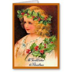 Vintage Antique Christmas Card Girl Wreath