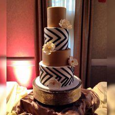 Chevron theme Wedding Cake #spinellisboston #spinellisbanquethall #cake #wedding