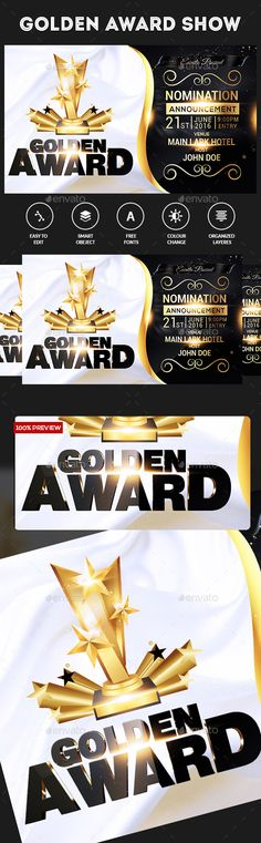 Golden Awards Flyer Template Edit Text And Party Flyer