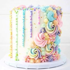 Brittany May on So happy I had the opportunity to make this pastel rainbow cake for a sweet little girls birthday! Its made up of rich chocolate layers, Pretty Cakes, Cute Cakes, Beautiful Cakes, Amazing Cakes, Beautiful Cake Designs, Pastell Party, Pastel Cakes, Colorful Cakes, Drip Cakes