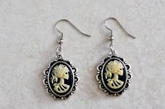 GOTHIC VICTORIAN VTG LOLITA ZOMBIE DAY OF THE DEAD LADY SKELETON CAMEO EARRINGS