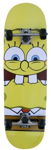 """SpongeBob Pro Skateboarder (28 - Inch) by Bravo. $29.99. Trucks 5"""" Aluminum alloy. Deck 8"""" X 28"""" 9 Ply Maple, Double kicktail. Great SpongeBob Squarepants graphics. 608ZB speed bearings. 50mm PVC wheels. From the Manufacturer                Our 28"""" Skateboard with SpongeBob SquarePants graphics features a 8"""" X 28"""" 9 ply Maple deck, double kicktail and 5"""" aluminum alloy trucks. The 50mm PVC wheels have 608ZB speed bearings. The great SpongeBob SquarePants graphics ..."""