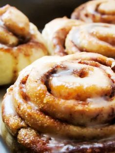 Close up of Easy Homemade Cinnamon Rolls with icing.