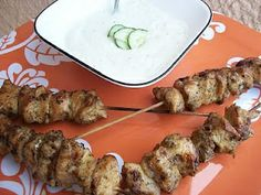chicken skewers with tzatziki sauce  OH MY GOD DELICIOUS!!  the tziki sauce made WAY too much though, could have easily been halved..