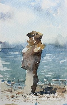 Sunday Watercolors: Gotland | Here are two plein air paintings from last summer's visit to Gotland. The rockformations there are absolutely amazing and so inspiring to paint with their beautiful colors against the blue ocean (7.2.16)