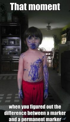 Reminds me of when I colored my brother with a permanent marker back in elementary school....the night before school pictures hahaha MADE MY MOM'S NIGHT :)