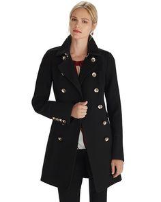 White House | Black Market Black Skirted Long Coat #whbm