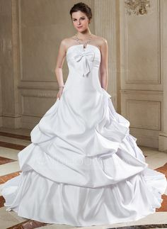 Wedding Dresses - $239.99 - Ball-Gown Scalloped Neck Chapel Train Satin Wedding Dress With Ruffle Bow(s) (002000659) http://jjshouse.com/Ball-Gown-Scalloped-Neck-Chapel-Train-Satin-Wedding-Dress-With-Ruffle-Bow-S-002000659-g659