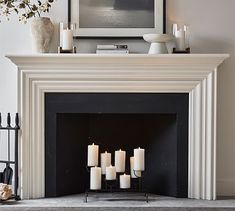 Candles In Fireplace, Faux Fireplace Mantels, Paint Fireplace, Bedroom Fireplace, Fireplace Update, Fireplace Remodel, Fireplace Surrounds, Fireplace Design, Modern Fireplace Decor
