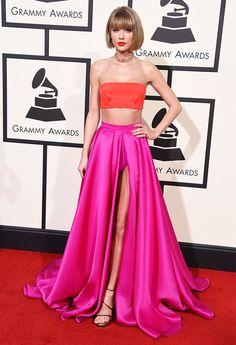 WHO: Taylor Swift  WHAT: Nominee, Album of the Year for 1989  WEAR: Atelier Versace dress; Lorraine Schwartz jewelry; Stuart Weitzman shoes.