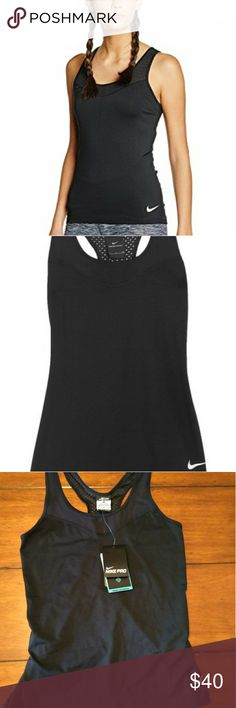 NWT Nike Pro Dri-Fit Mesh Black Tank NWT black Nike Pro mesh dri-fit tank. Dri-Fit helps pull moisture off of you to help keep you dry and cool. Nike Tops Tank Tops