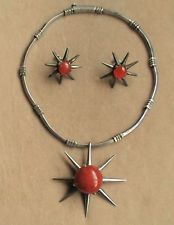 VINTAGE SALVADOR TERAN STERLING SILVER AND CORAL NECKLACE AND EARRING SET