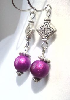 Magenta Glow Earrings by PinkCupcakeJC on Etsy, $9.00