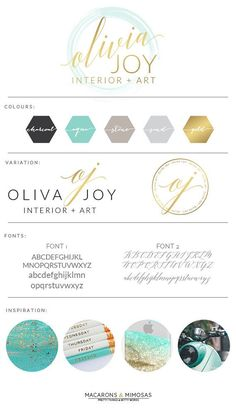 Design Studio | Branding | Business Branding | Brand Board | Branding Kit Logo Design | Rose Gold Logo | Blush Pink Teal Color Scheme | watercolor circle Calligraphy Watercolor | Premade Submark Watermark Stamp | Blogger Photography