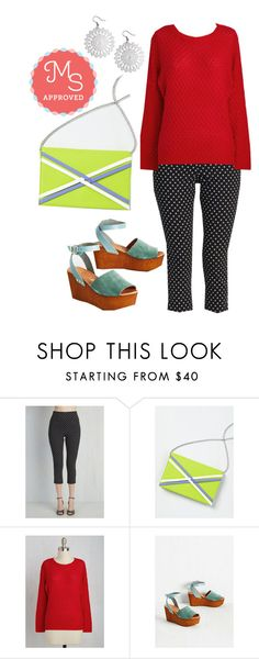 """Jive Got a Feeling Pants in Black Dots"" by modcloth ❤ liked on Polyvore featuring Seychelles and vintage"