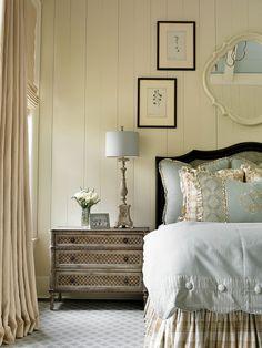 "Master Bedroom: Wall paint color is ""Benjamin Moore Elephant Tusk"".   Nightstands are Restoration Hardware.  Rug is Myers Carpet, Atlanta."