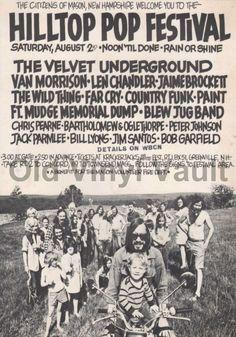The Velvet Underground - Van Morrison - Hilltop Pop Festival - 1969 - Concert Poster Festival Posters, Concert Posters, Music Posters, Hippie Posters, Event Posters, New Hampshire, Chicago At Night, Rock Festivals, Music Festivals